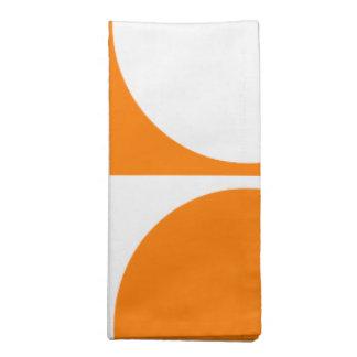 Orange&Off-White Graphic Design, Square&Circle Cloth Napkin
