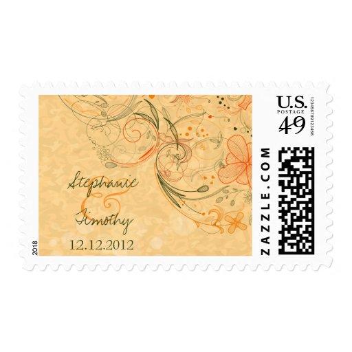Orange & olive floral swirls wedding stamps