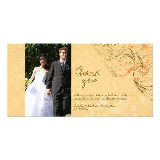 Orange & olive floral swirls wedding thank you photo card
