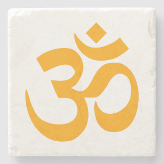 Orange Om Symbol Stone Beverage Coaster