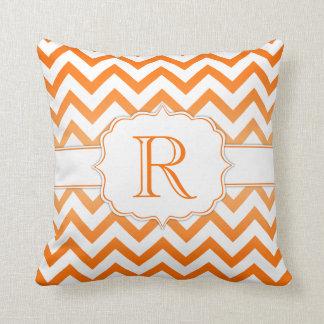 Orange Ombre and White Chevron Pattern Monogram Pillow