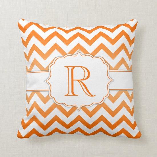 Orange Ombre and White Chevron Pattern Monogram Throw Pillow