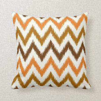 Orange Ombre Ikat Chevron Throw Pillow