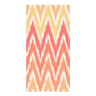 Orange Ombre Ikat Chevron Zig Zag Stripes Pattern Card