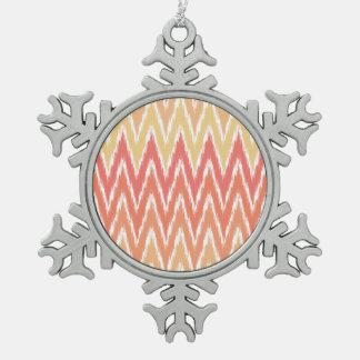 Orange Ombre Ikat Chevron Zig Zag Stripes Pattern Ornament
