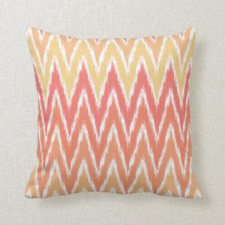 Orange Ombre Ikat Chevron Zig Zag Stripes Pattern Pillow