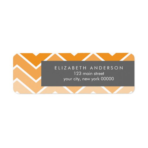 Orange Ombre Zig Zag Chevron Pattern Label