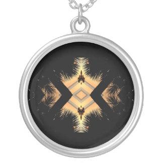 Orange on black abstract design round pendant necklace