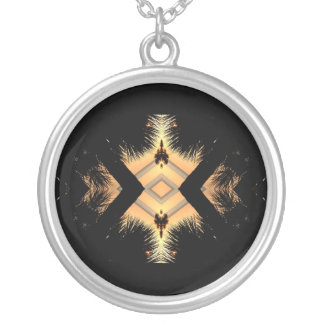 Orange on black abstract design silver plated necklace