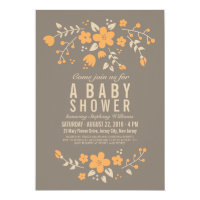 Orange on Brown Pretty Floral Baby Shower Invite Card