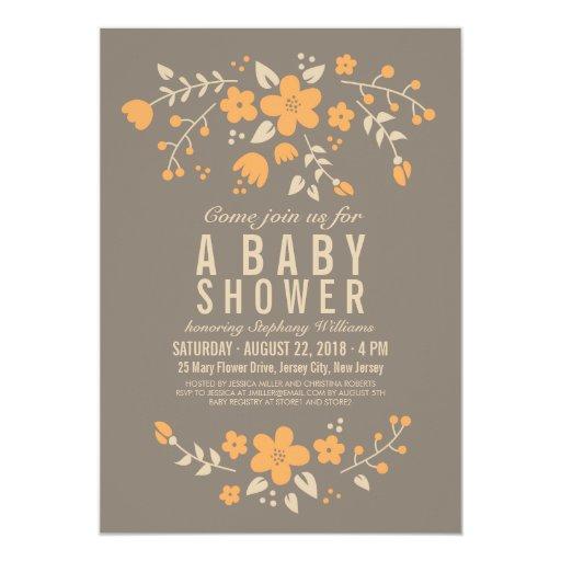 Orange on Brown Pretty Floral Baby Shower Invite Card