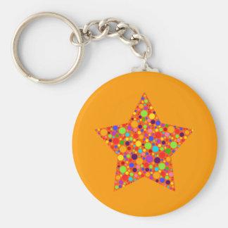 Orange on Orange Bubble Star Magnet Basic Round Button Keychain