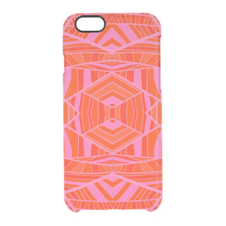 Orange on Pink Geo Pattern by KCS Uncommon Clearly™ Deflector iPhone 6 Case