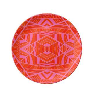 Orange on Pink Geometric Pattern Plate by KCS
