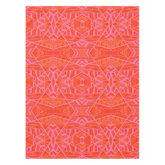 Orange on Pink Geometric Pattern Tablecloth by KCS