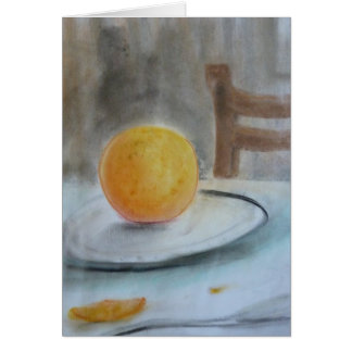Orange on Plate pastel notecard by Brad Hines