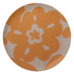 Orange on White Tropical Flowers Plate