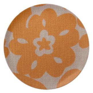Orange on White Tropical Flowers Plate