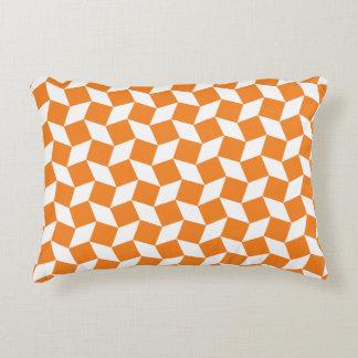 Orange Op Art Pattern Accent Pillow
