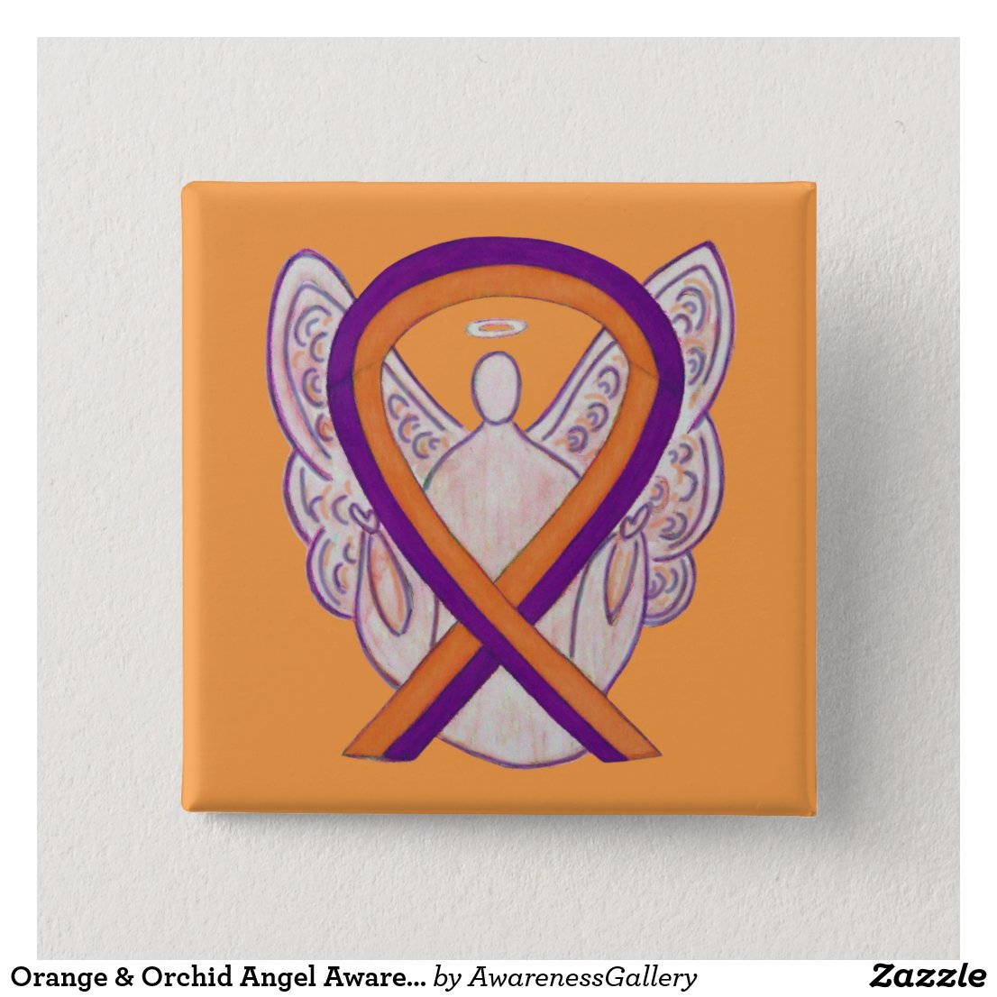 Orange & Orchid Angel Awareness Ribbon Custom Pins