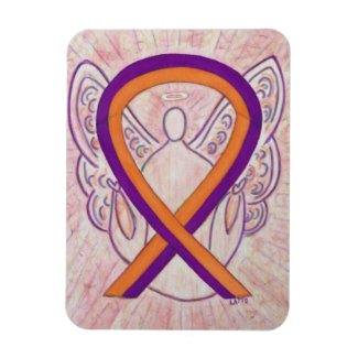 Orange & Orchid Awareness Ribbon Angel Art Magnets