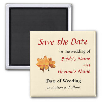 Orange Orchid Cluster Save the Date 2 Inch Square Magnet
