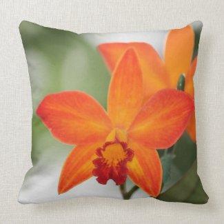 Orange Orchid Cotton Pillow