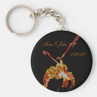 Orange Orchid Flower Wedding Favor Keychain