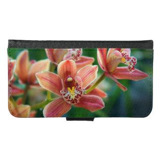 Orange Orchid Flowers Samsung Galaxy S6 Wallet Case