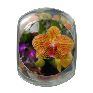 Orange Orchid Glass Candy Jars