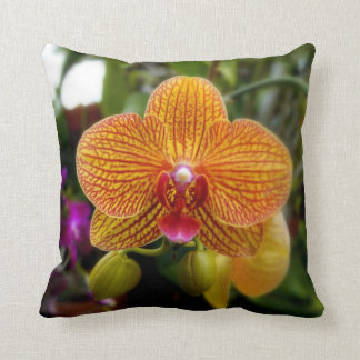 Orange Orchid Throw Pillow