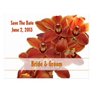 Orange Orchid Save The Date Postcard