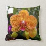 Orange Orchid Throw Pillows