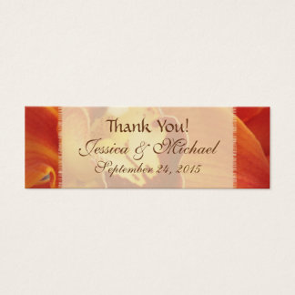 "Orange Orchid Wedding Favor ""Thank You"" Tags"