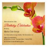 Orange Orchids Birthday Party Invitation Invitations