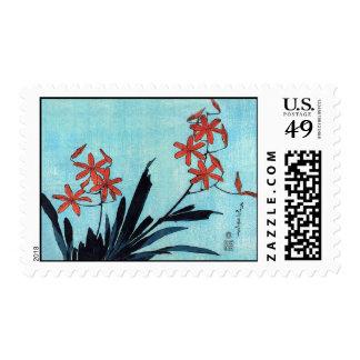 Orange Orchids, Hokusai Postage Stamp