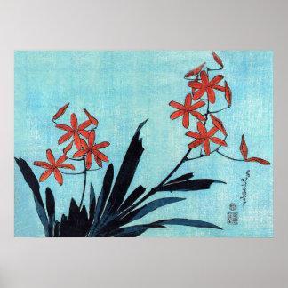 Orange Orchids, Hokusai Posters