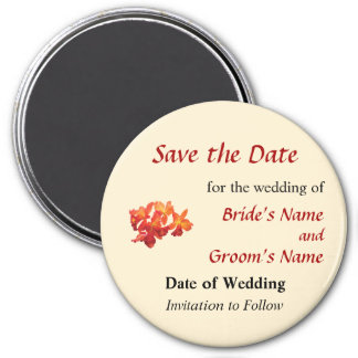 Orange Orchids Save the Date 3 Inch Round Magnet