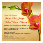 Orange Orchids Tropical Beach Destination Wedding Personalized Invitations