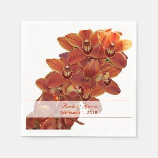 Orange Orchids Wedding Paper Napkins