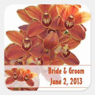 Orange Orchids Wedding Stickers