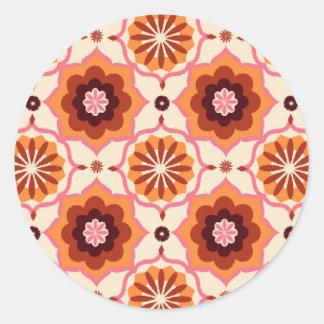 Orange oriental pattern round sticker
