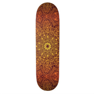 Orange Ornamental Lace Pattern Skateboard Deck