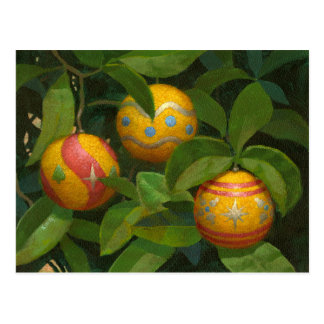 Orange Ornaments Christmas postcard