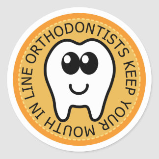 Orange Orthodontist Gift Classic Round Sticker