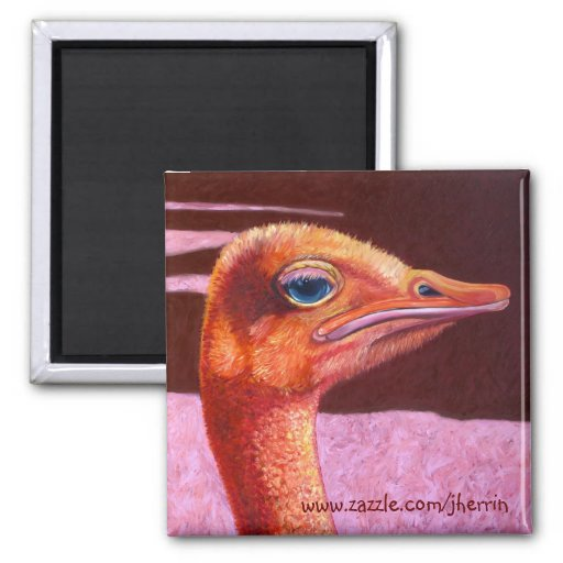 Orange Ostrich 2 Inch Square Magnet