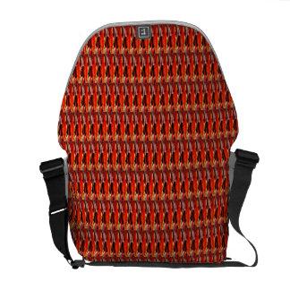 Orange over black basket pattern messenger bag