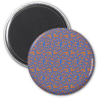 Orange over Blue Swirling Vines Magnet