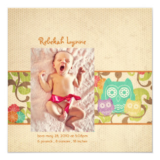 "Orange Owl Baby Birth Announcements 5.25"" Square Invitation Card"