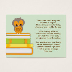 Orange Owl Baby Shower Book Insert Request Card at Zazzle